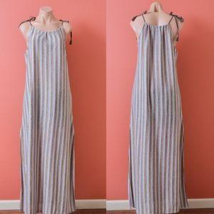 Zara Trafaluc Striped Textured Tank Maxi Dress